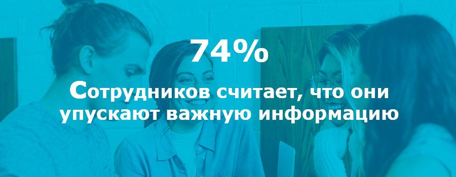 74% сотрудников упускают важную информацию